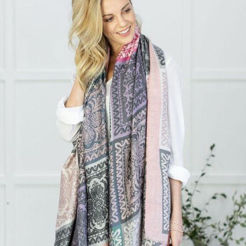 TILE PRINT SCARF- PALE PINK MIX